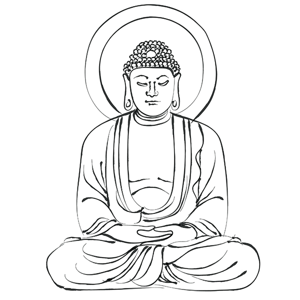 Drawing of a Buddha.