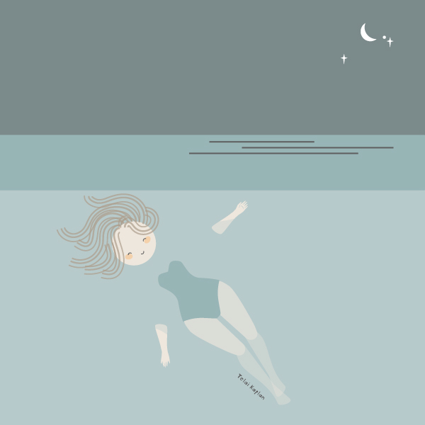 Doodle of a girl floating in water.